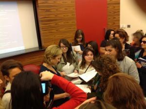 Kerry Kennedy con gli studenti del Liceo Ciardo di Lecce