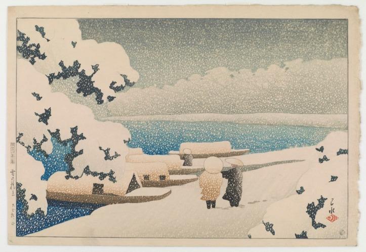 Neve a Hashidate dalla serie Ricordi di viaggio realizzato nel 1921 dall'artista giapponese Kawase Hasui (1883-1957) Gallery of Art and Arthur M. Sackler Gallery, Smithsonian Institution