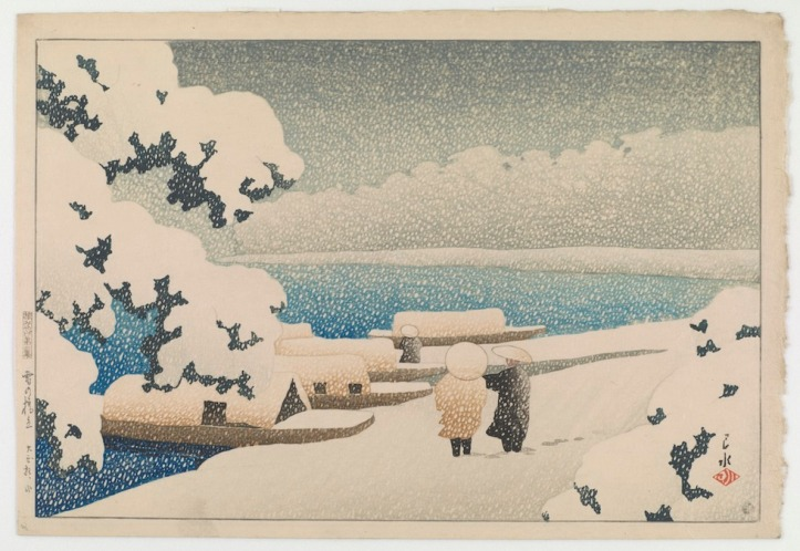 Neve a Hashidate dalla serie Ricordi di viaggio realizzato nel 1921 dall'artista giapponese Kawase Hasui (1883-1957) Gallery of Art and Arthur M. Sackler Gallery, Smithsonian Institution